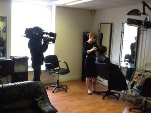 Film crew in our old salon